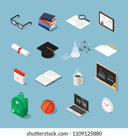 Isometric college student vector set: graduation cap, laptop, stack of books, glasses, piece of paper, diploma, test-tube, calendar, backpack, open book, cup, basketball, black board, framed diploma.