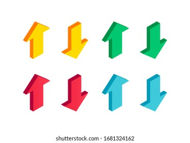 Isometric Color Arrow Set. 3d icon collection isolated on white background. Vector illustration for app, web, design, advert