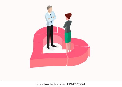Isometric color concept divorce relationship heart. This illustration elements can be used in different romantic love projects. Break up concept symbol exploding to pieces in isometric illustration