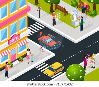 Isometric colored virtual augmented reality city composition with smart maps in smartphones and navigations in tablets vector illustration