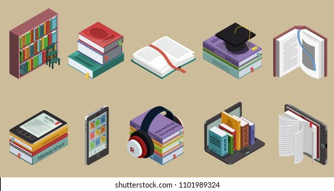 Isometric colorful books collection with bookshelf educational literature and ebooks on different devices isolated vector illustration