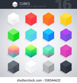 Isometric colorful cubes vector icons collection. Clipping paths included.
