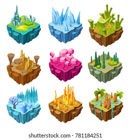 Isometric colorful game islands set with crystals swamp desert forest ice rocks tropical landscapes isolated vector illustration