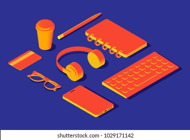 Isometric colorful yellow orange 3d object flat icons: credit card, headphones, coffee cup, pen, pencil, glasses, keyboard, smartphone, notebook lying on blue table