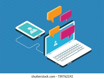Isometric communication concept with computer and mobile devices. Vector illustration.