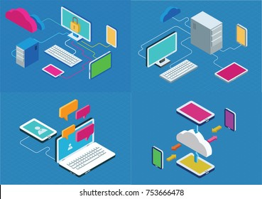 Isometric communication concept with computer and mobile devices. Flat style isometric vector illustrations set.