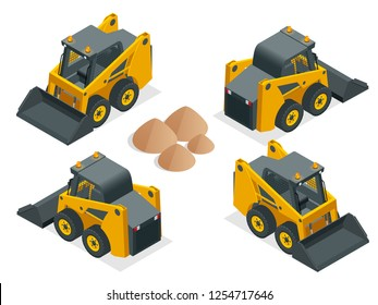 Isometric Compact Excavators. Orange wheel Steer Loader isolated on a white background