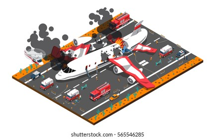 Isometric composition with airplane crash on roadway and rescue service including police ambulance fire brigade vector illustration