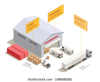 Isometric composition with delivery trucks trainer and containers near warehouse entrance 3d vector illustration