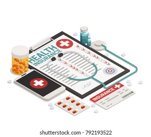Isometric composition with health insurance card medicine stethoscope and mobile phone on white background 3d vector illustration