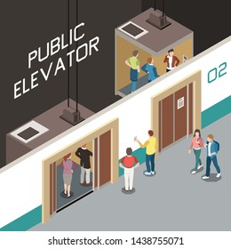 Isometric composition with lift shaft and people using public elevator 3d vector illustration
