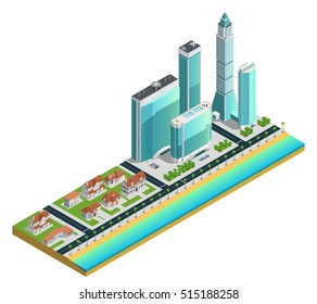 Isometric composition with modern skyscrapers many-storeyed and suburban houses on sea coast vector illustration
