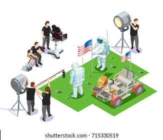 Isometric composition with movie operators shooting scene with american astronauts on white background 3d vector illustration