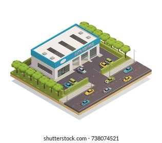 Isometric composition with parked cars near auto service center on white background 3d vector illustration
