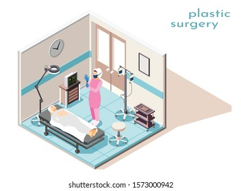Isometric composition with surgeon and woman getting ready for plastic operation in surgery room 3d vector illustration