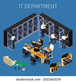 Isometric composition with system administrators and technicians working at information technology engineering department 3d vector illustration