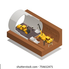 Isometric composition with underground tunnel construction process on white background 3d vector illustration