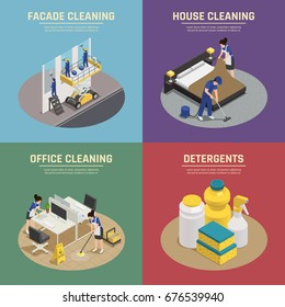 Isometric compositions with professional cleaning of facade buildings, office, house, detergents and washing tools isolated vector illustration