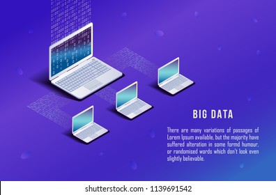 Isometric computer, laptop on blue background. Matrix code. Internet network communication. Big Data Synchronization and storage of data. 3d flat design. Vector illustration.
