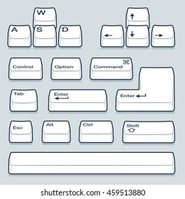 Isometric Computer Line Keyboard Keys Including Alt, Control, Shift, Enter and Arrow Keys
