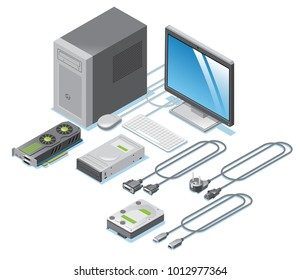 Isometric computer parts collection with monitor video card drives cable wires keyboard mouse system unit isolated vector illustration