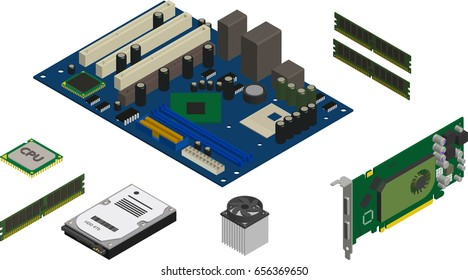 Isometric Computer Parts Icons Set. Computer Service