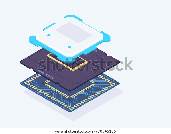 Isometric computer processor. Processor layers. CPU vector illustration