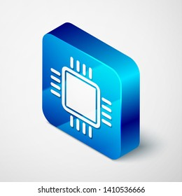 Isometric Computer processor with microcircuits CPU icon isolated on white background. Chip or cpu with circuit board sign. Micro processor. Blue square button. Vector Illustration