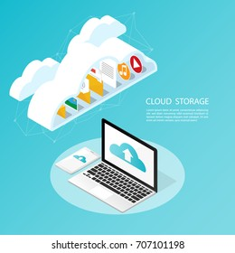isometric computer smartphone,upload cloud storage backup anywhere vector