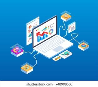 Isometric computer technology data analysis