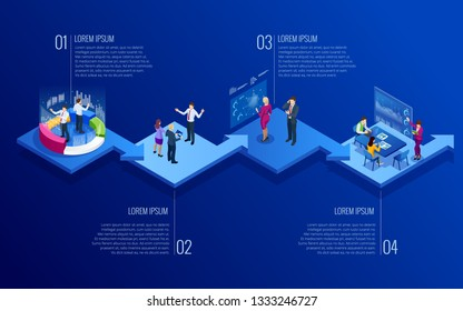 Isometric concept of analytics, strategy, investment, management, Investment, and virtual finance. Communication and digital marketing.
