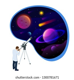 Isometric concept of Astronomer looking through telescope on planets, stars and comets. Astronomical telescope tube and cosmos. Vector illustration