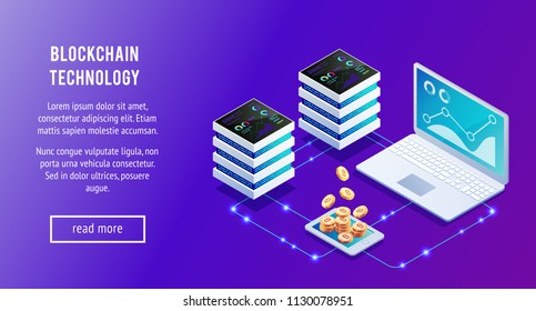 Isometric concept of blockchain technology. Servers, laptop and 3d bitcoins. Transfer cryptocurrency in system. Vector illustration.