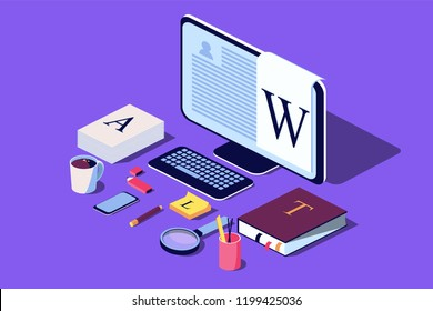 Isometric Concept for Blog, Blogging concept, post, content strategy, social media, chatting. Vector illustration for web page, social media, documents, cards, posters.