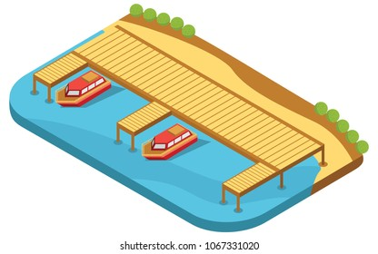 isometric concept of boat dock on the beach, vector illustration