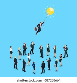 Isometric concept of a business idea. Businessman flying on light bulb over a crowd of people. 3d businesspeople isolated on blue background. Vector illustration.