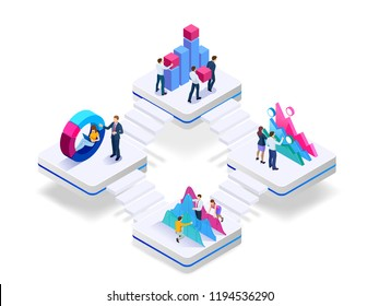 Isometric concept of business teams meeting working with new startup project, analysis data the charts and graphs, discussion. Consulting for company performance, analysis, accounting