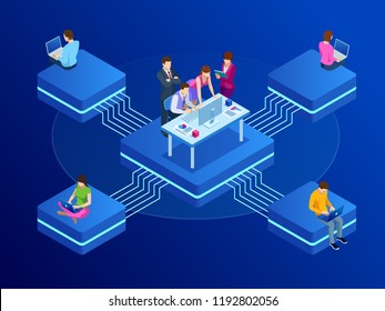 Isometric concept for business teamwork and digital marketing, creative innovation. Web banner flat design of promotion of business online, the takeoff rating of the work, ideas. Vctor illustration