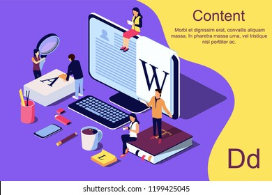 Isometric concept creative writing or blogging, education and content management for web page, banner, social media, documents, posters. Vector illustration for news, copywriting, seminars, tutorial