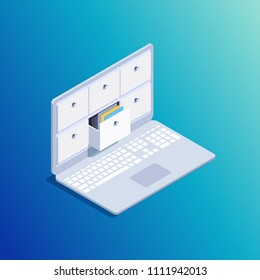 Isometric concept of data storage. 3d laptop with folders. Storage of documentation in the cloud. Vector illustration.