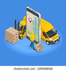 Isometric concept of Delivery service app on mobile phone. Delivery van and mobile phone with map on city background.
