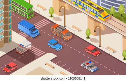 Isometric concept with different transporation vehicles in urban city.