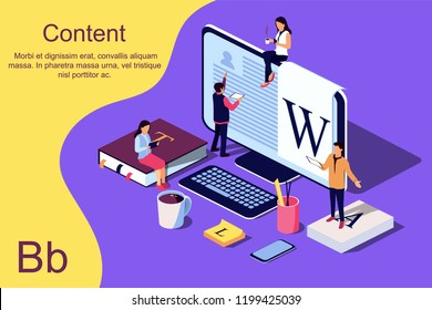 Isometric concept Education. Vector illustration for online education, online training, Internet studying, online book, tutorials, e-learning for social media, documents, cards, posters.