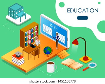 Isometric concept of Educational system with online education e learning process. Vector illustration