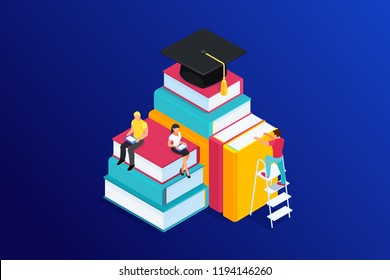Isometric concept of e-learning, 3d book with graduate hat. People, man and woman reading ebook on tablet, education step by step. Vector illustration.