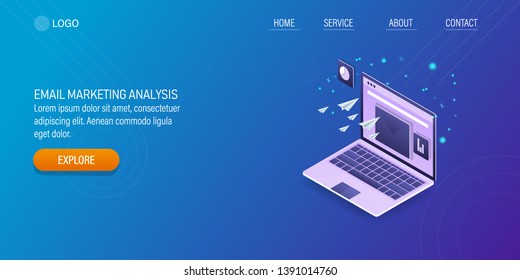 Isometric concept of email marketing, email analytics, Sending email, flat style vector landing page with icons and texts