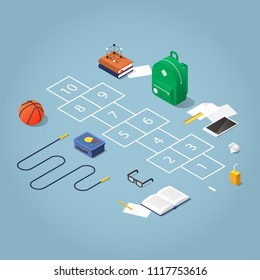 Isometric concept illustration of school break in the schoolyard. Hopscotch surrounded with school kid stuff: backpack, books, skipping rope, basketball, glasses, tablet, lunchbox and juice, chalk.