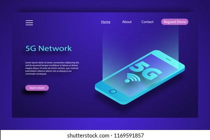 Isometric concept includes smartphone and 5G symbol. Isometric 5G network wireless systems and internet vector illustration. Global network high speed innovation connection data rate technology