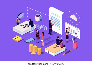 Isometric Concept The investor holds money in ideas. Vector illustration for web page, social media, documents, the opening of a new startup, financing of creative projects.