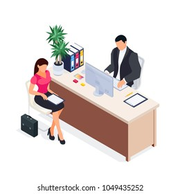Isometric concept of job interview. Young woman fills out an application form, the employer is working on the computer. 3d concept of job search isolated on white background. Vector illustration.